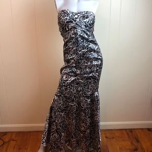 Jump Apparel Black White Rose Strapless Prom Gown